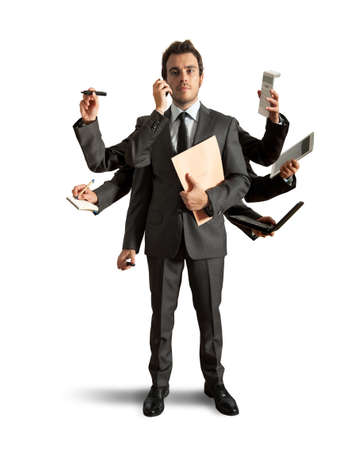 технология: Концепция многозадачности с бизнесменом, который осуществляет различные операции Фото со стока