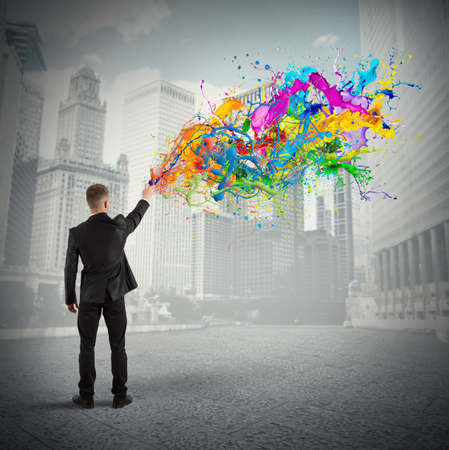 hombre de negocios: Concepto de negocio colorido y creativo con el color de pulverización Foto de archivo