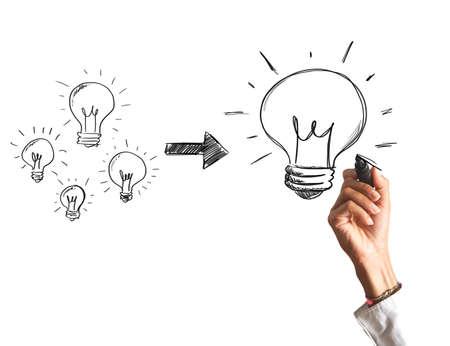 Concepto de la creación de una gran idea