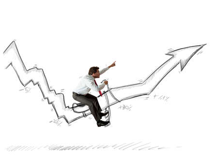 Concept of crisis with businessman that tames statistics