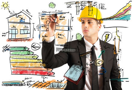 drafting: Energetic project draft of a construction engineer Stock Photo