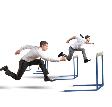 business obstacle: Concept of business competition with jumping businessman