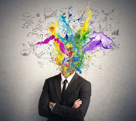 Concept of creative mind with colorful effect