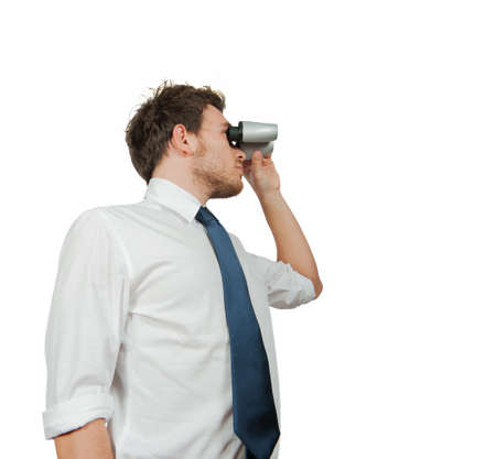 binoculars view: Manager looks for new business with binoculars Stock Photo