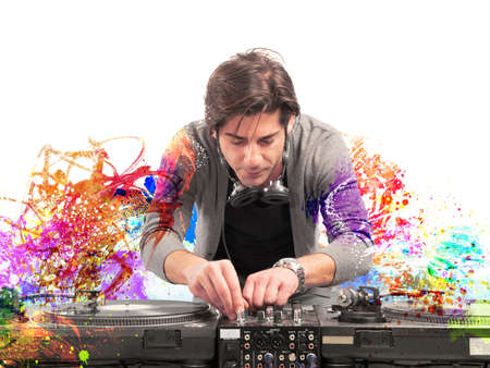 DJ at work playing music with a mixer