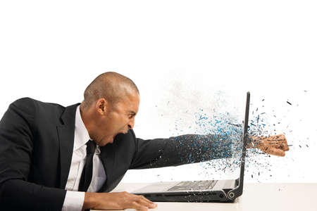 frustrated man: Concept of stress and frustration of a businessman with laptop