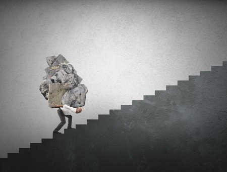 Concepto de difícil carrera en la historia de los negocios