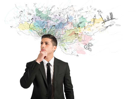 Concept of innovation and creativity with businessman that thinks for new ideas photo