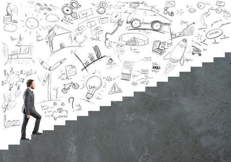 Konzept der Karriere und Ehrgeiz von einem Geschäftsmann