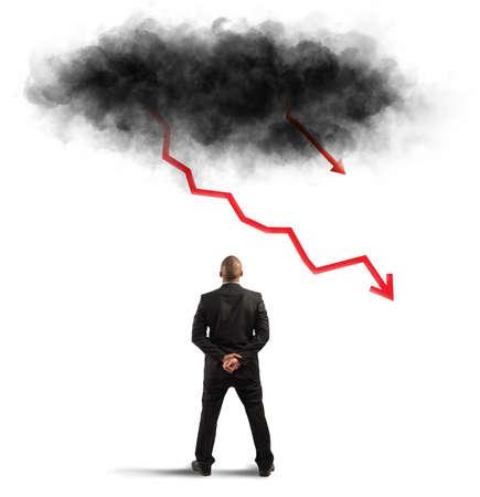 Concept van recessie en crisis met negatieve statistieken, zoals verlichting Stockfoto