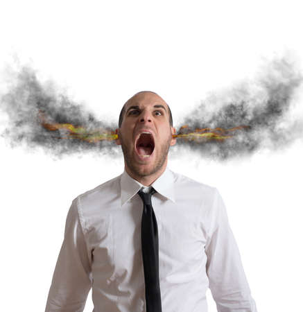 negativity: Stressed businessman with smoke and flame in head
