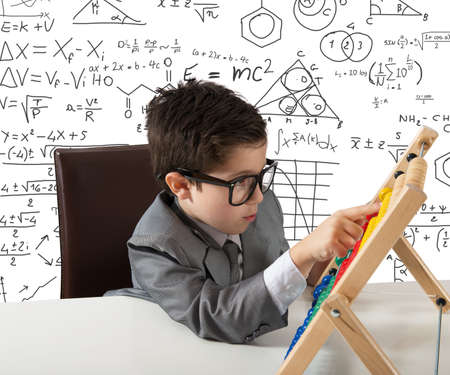 mathematical: Concept of young genius that works with abacus