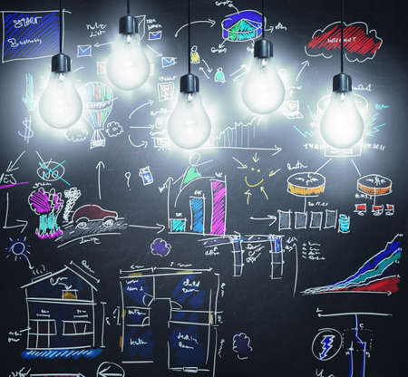 Concept of creativity and new idea in a blackboard photo