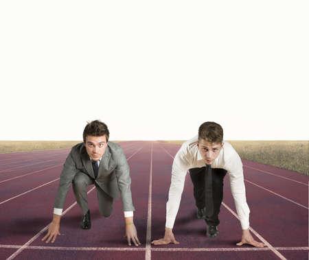 実業家を開始する準備ができているとビジネスの競争の概念
