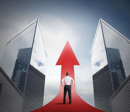生産性: 矢印の成長と成功の統計量の概念 写真素材