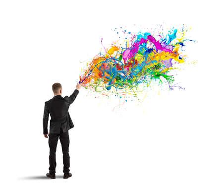Concept kleurrijke en creatieve zakelijke met spray kleur