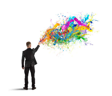 Concept of colorful and creative business with spray color Stock Photo