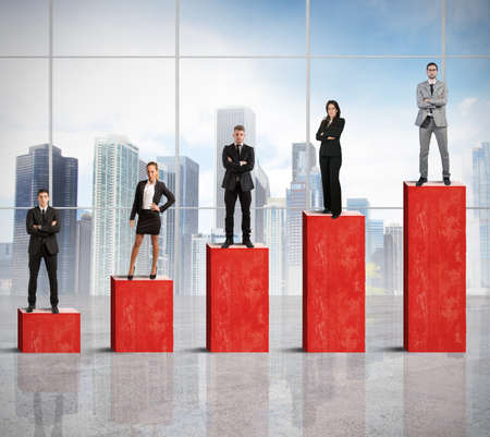 Concept of successful team with growing statistics Stock Photo