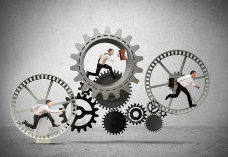 konzepte: Business-Mechanismus System mit fließendem Business-Team Lizenzfreie Bilder