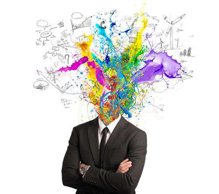competencias laborales: Concepto de la mente creativa con efecto colorido Foto de archivo
