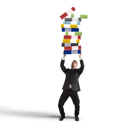 workload: Concept of hard career with workload businessman Stock Photo