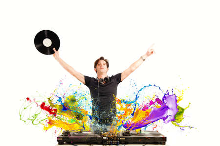 Cool DJ playing music with splash effect Фото со стока