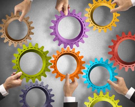 conceito: Trabalho em equipe e conceito de integração com sistema de engrenagem