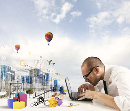 to innovate: Concept of creativity of an architect with building draft Stock Photo