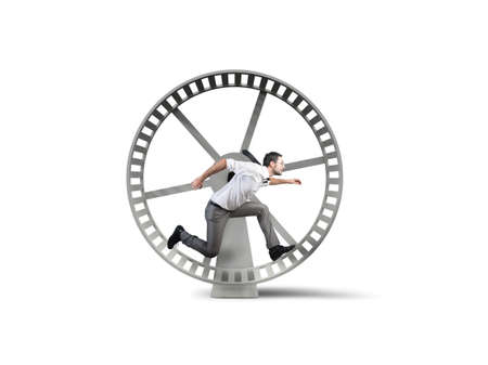 a loop: Concept of business loop with running businessman