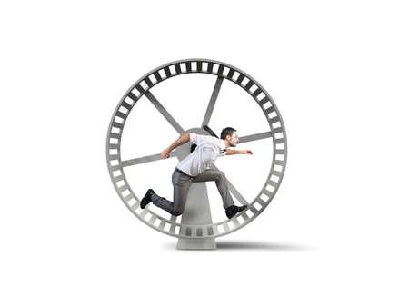 schleife: Konzept der Business-Schleife mit laufendem Gesch�ftsmann