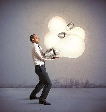 new idea: Creative businessman holding a new big idea
