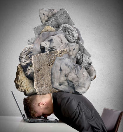 ponderous: Concept of Stress at work with rocks above the head