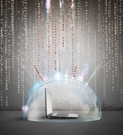 safeness: Firewall and antivirus concept with a laptop inside a crystal sphere Stock Photo