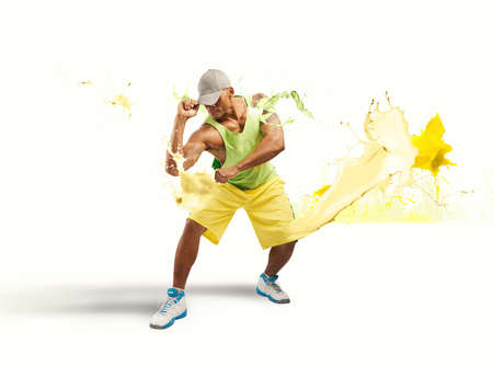 urban dance: Modern dancer with liquid explosion effect Stock Photo