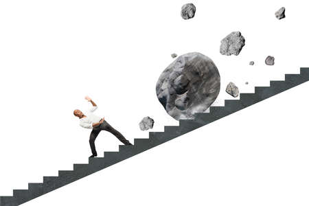 Concept of difficult career of a businessman with falling rocks 版權商用圖片 - 28349193