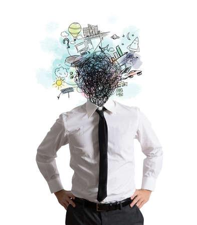 persona confundida: Hombre de negocios confuso por demasiadas ideas creativas