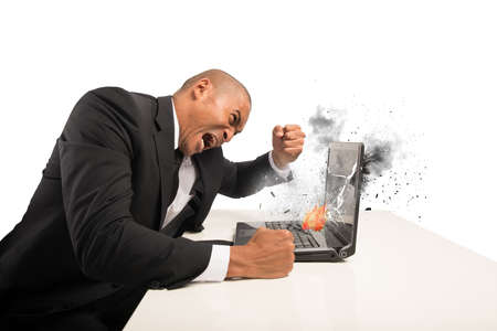 Concept of stress and frustration caused by a computer photo