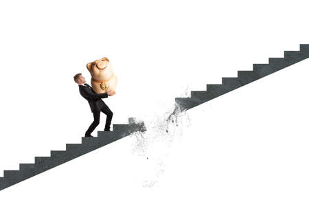 interrupted: Concept of crisis and failure with interrupted stairs
