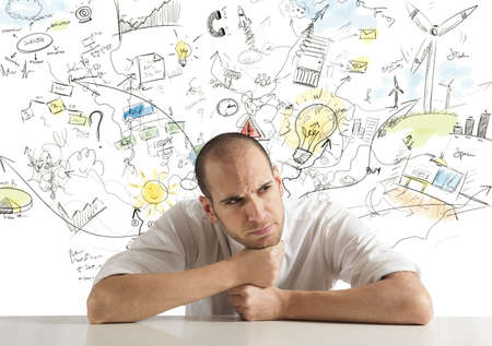 Concept of creative businessman with new idea Stock Photo