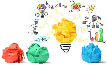 Concepto de la nueva idea de concepto y la innovación Foto de archivo