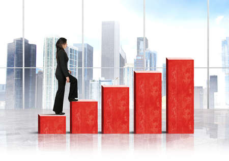 Growth and success concept with growing statistics photo