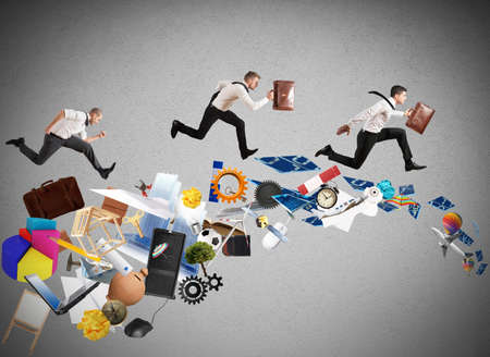 better performance: Concept of competitive business with running businessman Stock Photo