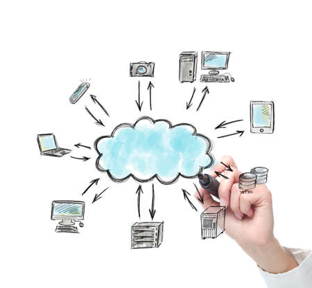 Businessperson drawing a complete cloud computer solution photo