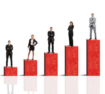Concept of successful team with growing statistics photo