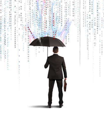virus: Antivirus and firewall concept with businessman protected with umbrella