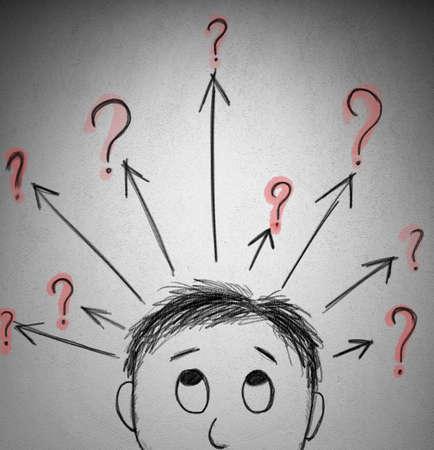 Concept van de vraag met een schets van een zakenman