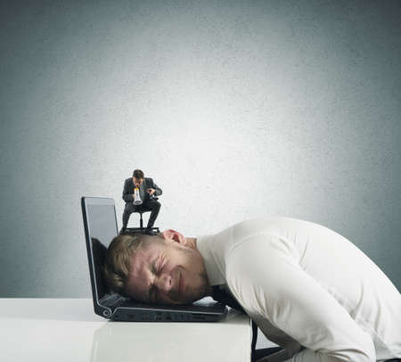 humiliation: Concept of stress with businessman terrified by the boss