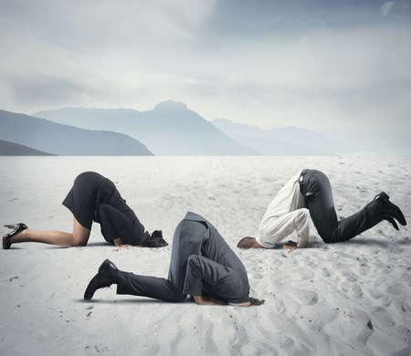 타조와 같은 사업가와 두려움의 개념