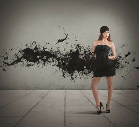 Concept of creative fashion with black motion effect photo