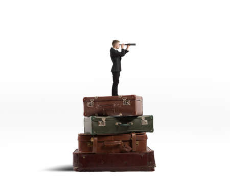 Concept of travel with businessman with binocular Stock Photo - 29010955